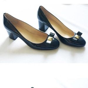 KATE SPADE | Navy Patent Bow Detail Black Heel 9